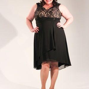 Dress Barn Dresses - Black and Nude Lace Surplice Formal Dress